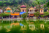 The village lake, Long Chieu at the Thay Pagoda (Masters Pagoda) located at the foot of Sai Son mountain near Hanoi, Vietnam, Asia.