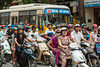 Motorbike traffic on the street in downtown Hanoi, Vietnam, Asia.