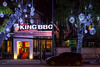 The King BBQ restaurant illuminated at night in Hanoi, Vietnam, Asia.