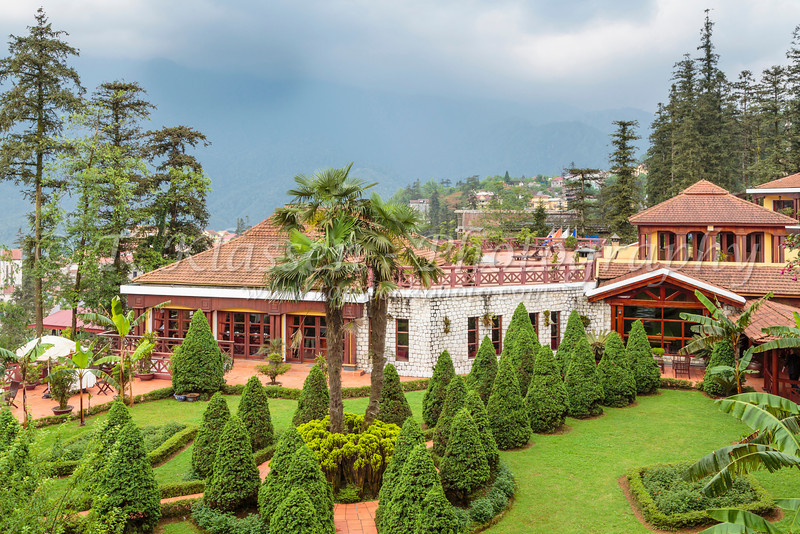 The Victoria Sapa Resort and Spa exterior and gardens in Sapa, Vietnam, Asia.