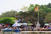 Rowboats transport people along the Yen River to the Perfume Pagoda near Hanoi, Vietnam, Asia.