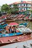 The My Doc boat dock along the Yen River to the Perfume Pagoda near Hanoi, Vietnam, Asia.