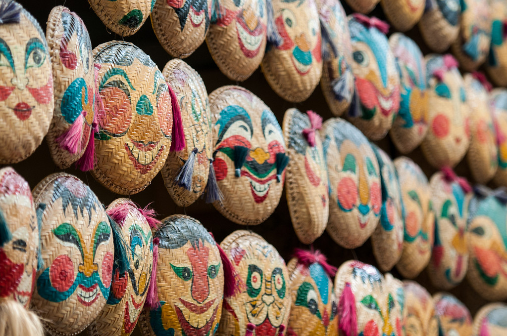 Baskets lining a shop on the streets of the Old Quarter in Hanoi.