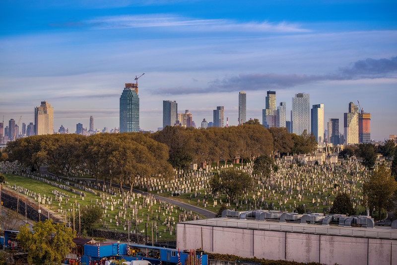Morning Light On Cemetery And Skyline