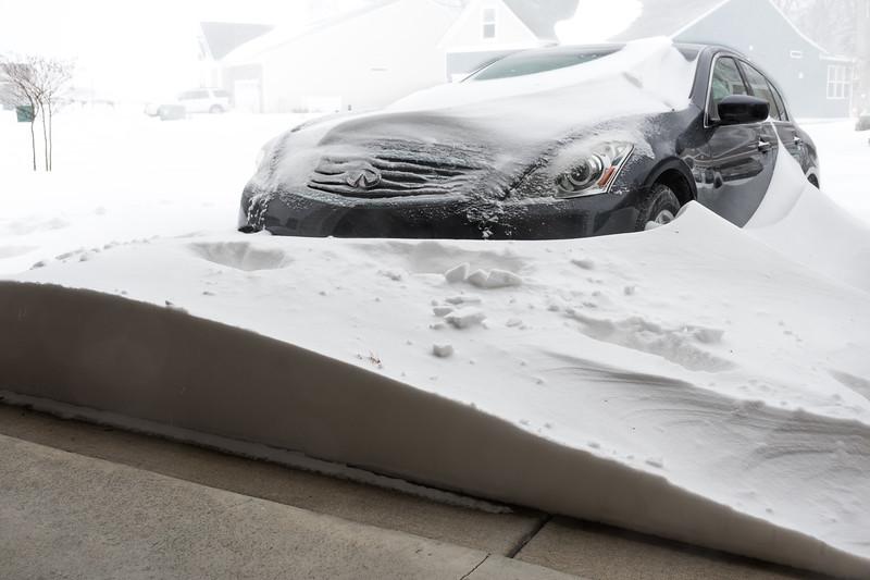 Blizzard, garage door drift