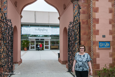 Louise at the entrance of the John & Mable Ringling Museum