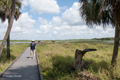 Louise at Myakka River Park, entering a bird watching boardwalk