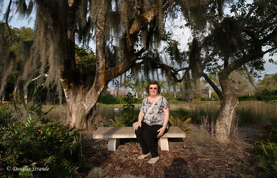 Louise in a shady garden at the Ringling Museum
