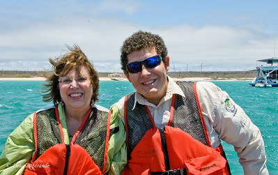 Louise & naturalist Emile on our Zodiac