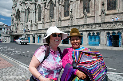 Quito, Ecuador Louise with a native artisan near the Basilica del Voto Nacional