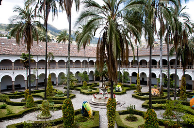 Quito, Ecuador Church & Monastery of San Francisco Courtyard with whimsical statuary