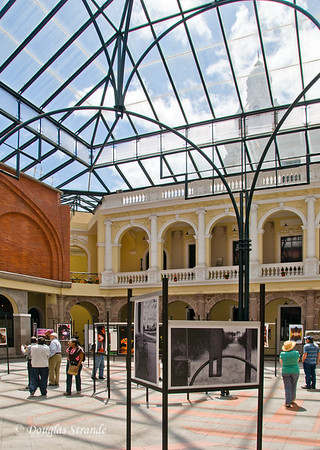 Quito, Ecuador Photo exhibit near the bell tower of the Catedral Metropolitana of Quito