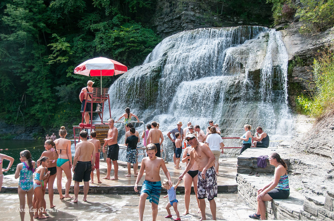 Swimmers at Enfield Falls