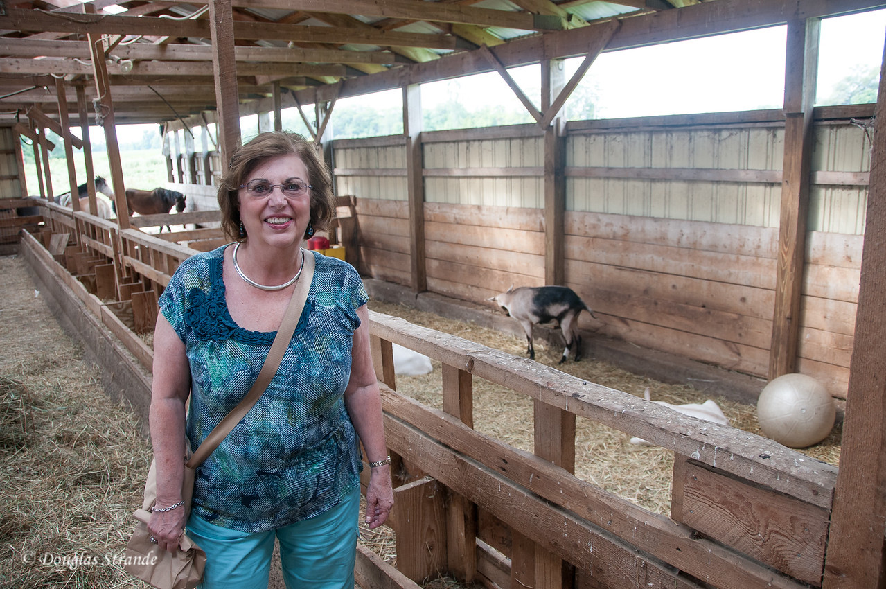 Louise in the goat barn