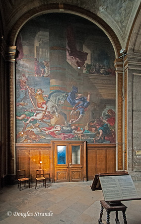 "Inside St Sulpice, Delacroix's mural ""Heliodorus Driven from the Temple"""