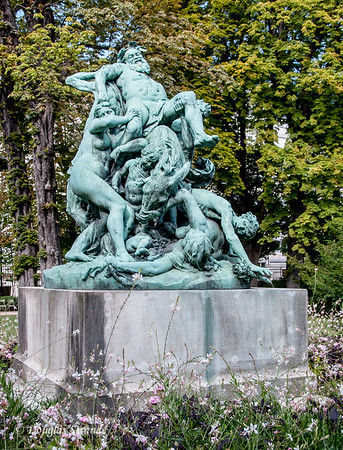"In Luxembourg Garden, the ""Triumph of Silene"" shows a crowd struggling to prop drunken Silene onto his donkey."