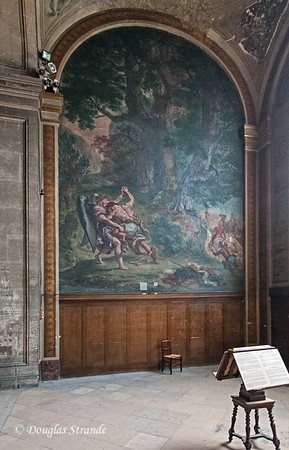 "Inside St Sulpice, Delacroix's mural ""Jacob Wrestling with the Angel"""