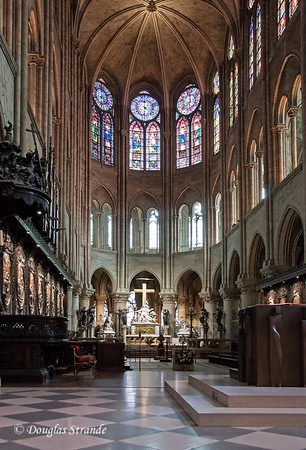Notre Dame interior with stained glass and the Pieta