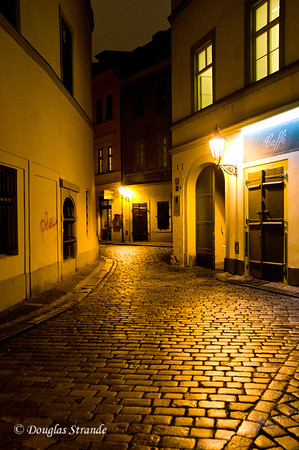 Cobblestone street at night, Prague