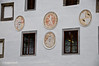 Cesky Krumlov building displays crests