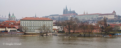 Looking across the Vlatava River  toward Prague Castle