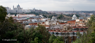 Tue 3/08 in Madrid: Overlook view of Royal Palace and the Cathedral Almudena