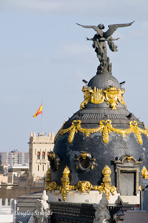 Mon 3/07 in Madrid: Dome at Gran Via and Calle de Alcala, seen from our hotel room balcony