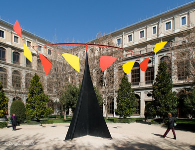 Mon 3/07 in Madrid: Calder sculpture in Reina Sofia courtyard