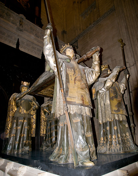 Tue 3/15 in Seville: Tomb containing the DNA-confirmed remains of Christopher Columbus carried by four figures representing the kingdoms of León, Castile, Aragón and Navarra