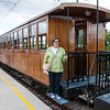 Louise boarding the wooden train en route to Soller, Mallorca