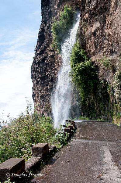Island of Madeira - waterfall on the old road gave a free carwash
