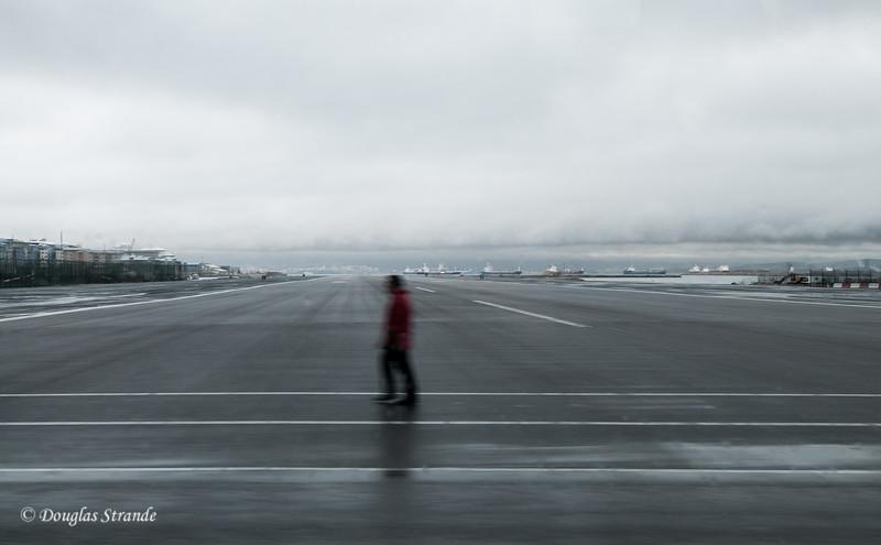 Gibraltar - Walker crossing the runway
