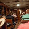 Onboard the wooden train en route to Soller, Mallorca