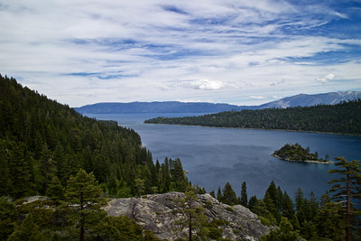 Forceful winds sweep across Emerald Bay in South Lake Tahoe