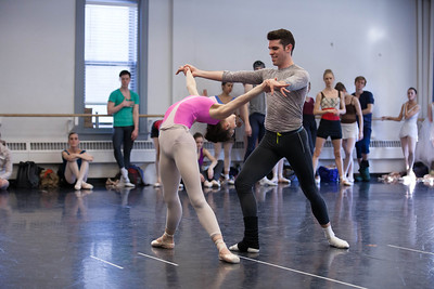 Ballet west's Beckanne Sisk & Thomas Mattingly rehearsing RUBIES by George Balanchine ©The George Balanchine Trust