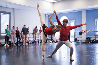 Ballet West's Jacqueline Straughan & Christopher Sellars rehearsing RUBIES by George Balanchine ©The George Balanchine Trust