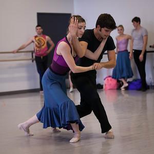 Ballet West's Emily Adams & Rex Tilton rehearsing FORGOTTEN LAND by Jiri Kylian