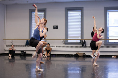 Ballet West's Christiana Bennett & Arolyn Williams rehearsing SPUN by Adrian Fry