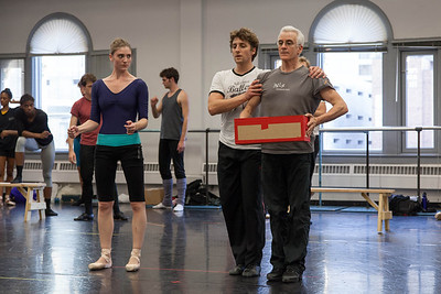 Ballet West's Emily Adams & Christopher Ruud rehearsing with Val Caniparoli on THE LOTTERY by Val Caniparoli
