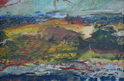"Carrot Island, Acrylic and Charcoal on Canvas, 20""h30""w, 1992"