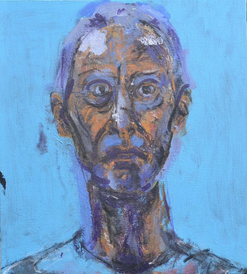 """Self portrait 2017, Acrylic and charcoal on canvas, 20""""h18""""w, 2017"""