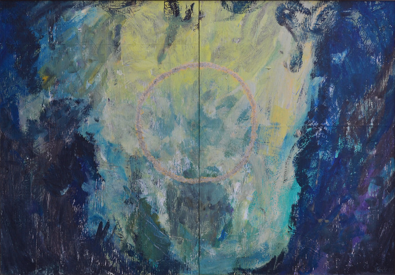 """God in the Garden, Latex and Acrylic on Wood, 33""""h48""""w, 1997"""