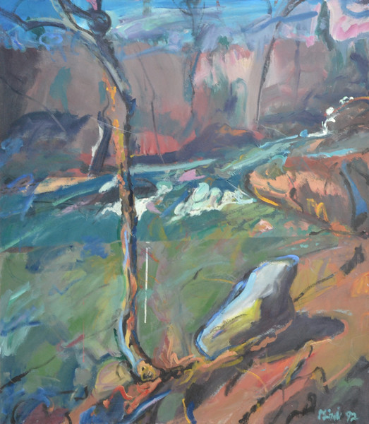 "River Rapids, Acrylic on Canvas, 48""h42""w, 1992"