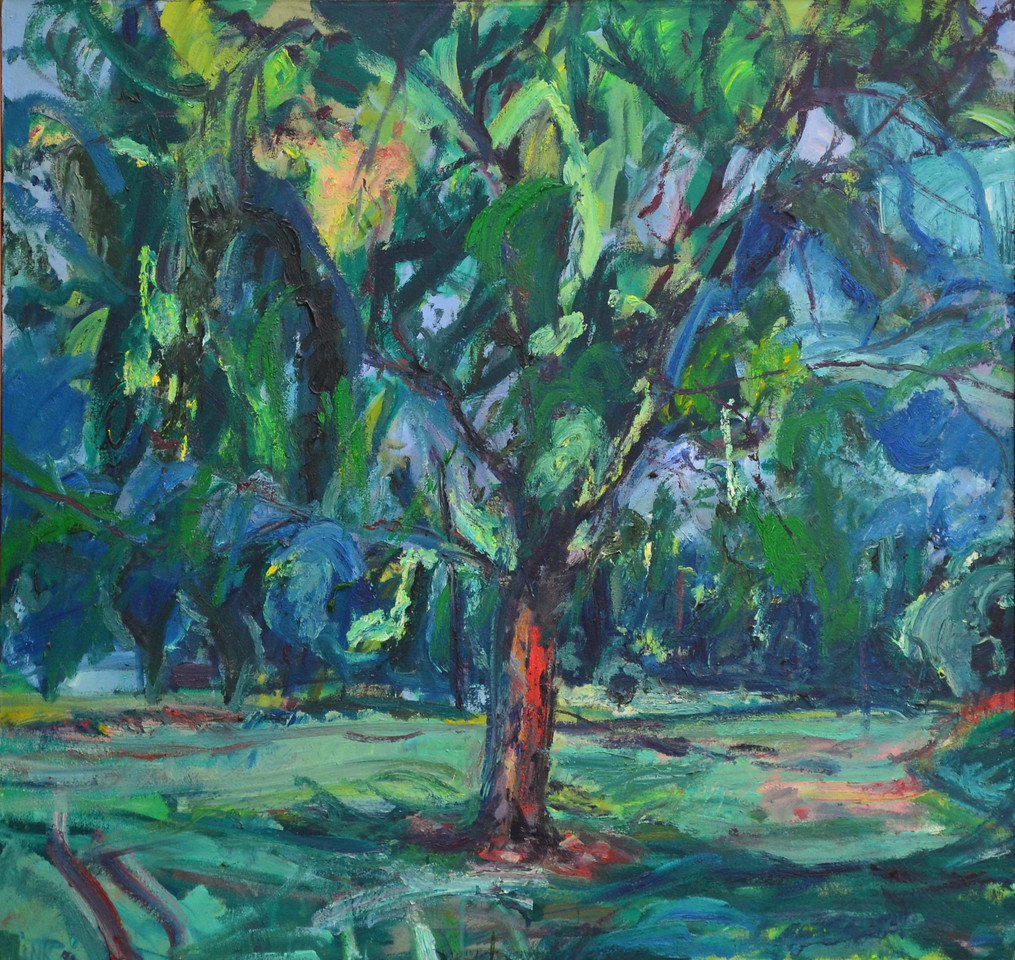 """Great Tree in Latham Park, Oil on Canvas,40""""h42""""w, 1992"""