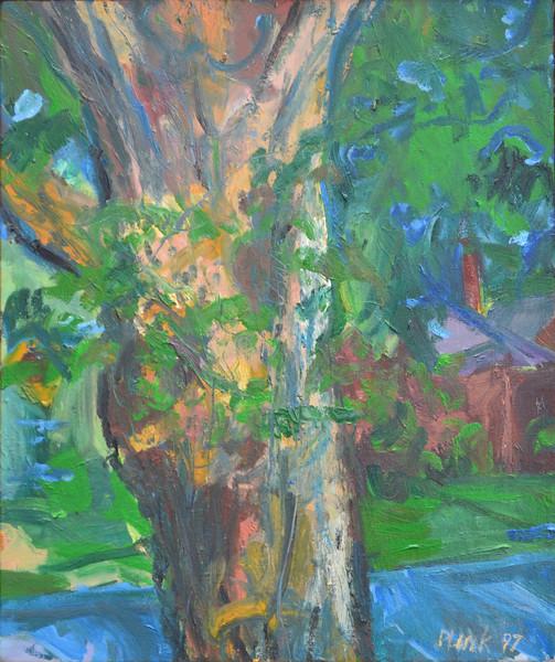 "Man Tree, Oil on Canvas, 24""h20""w, 1997"