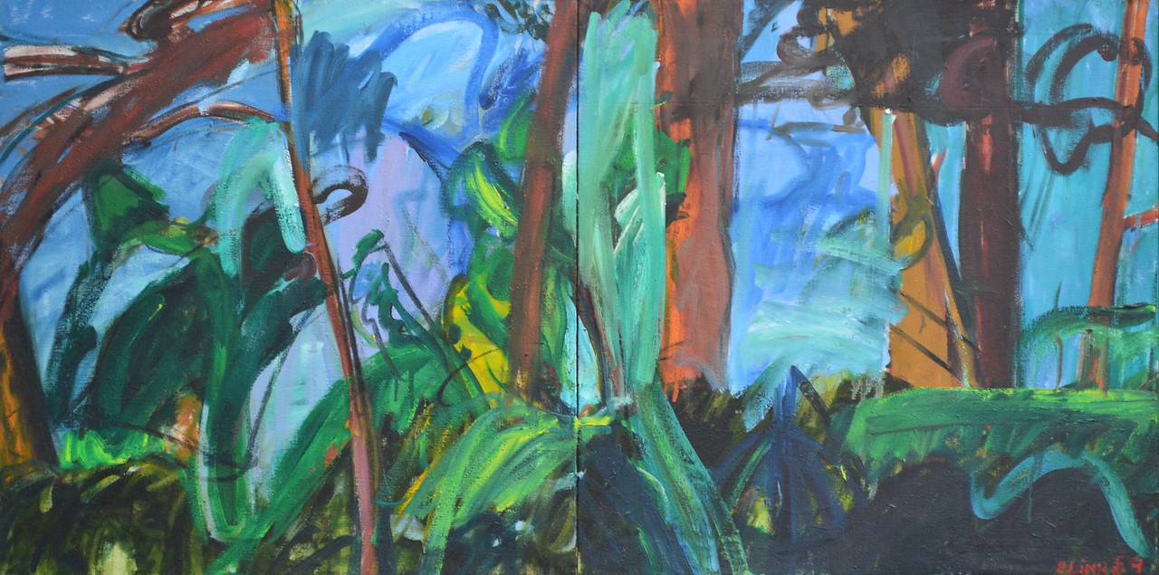 """Wild Boundary, Oil and Charcoal on Canvas, 25""""h50""""w, 1988"""