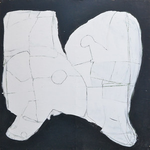 "Graphic Shape, Latex and Charcoal on Wood, 48""h48""w, 1994"