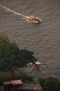 Boats in Chao Phraya River view from Banyan Tree Residences Riverside