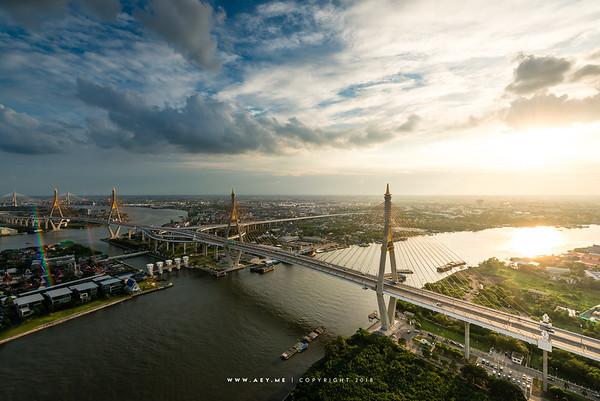 An Evening at the Bhumibol Bridge and Chao Phraya River view from The Pano Condominium