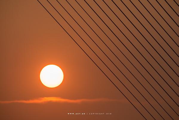 Sunset and the Rama VIII Bridge